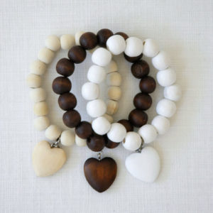 Bracelet with heart - cream, white, brown