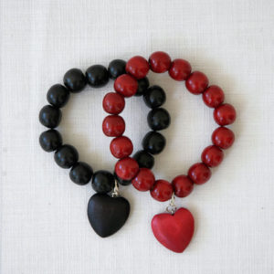 Bracelet with heart - black, red